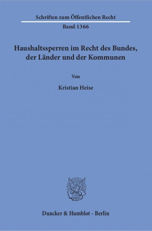 Cover-Bild Haushaltssperren im Recht des Bundes, der Länder und der Kommunen.