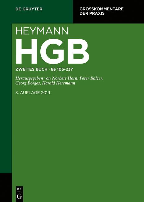Cover-Bild Heymann-Handelsgesetzbuch (ohne Seerecht) / Zweites Buch. §§ 105-237