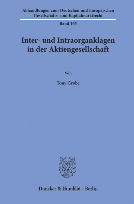 Cover-Bild Inter- und Intraorganklagen in der Aktiengesellschaft.