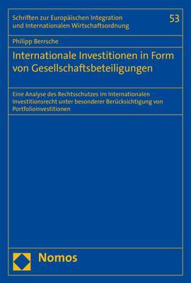 Cover-Bild Internationale Investitionen in Form von Gesellschaftsbeteiligungen