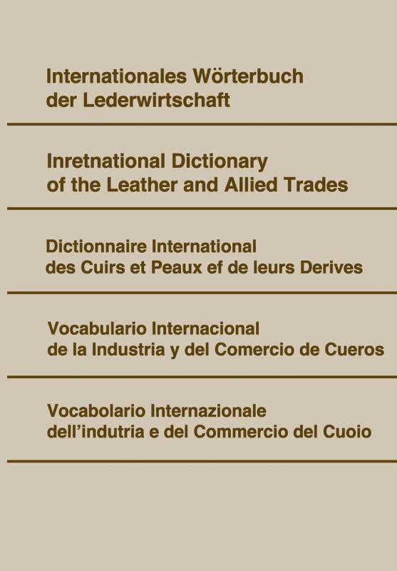 Cover-Bild Internationales Wörterbuch der Lederwirtschaft.