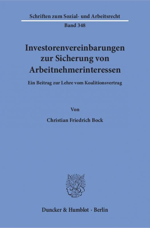 Cover-Bild Investorenvereinbarungen zur Sicherung von Arbeitnehmerinteressen.