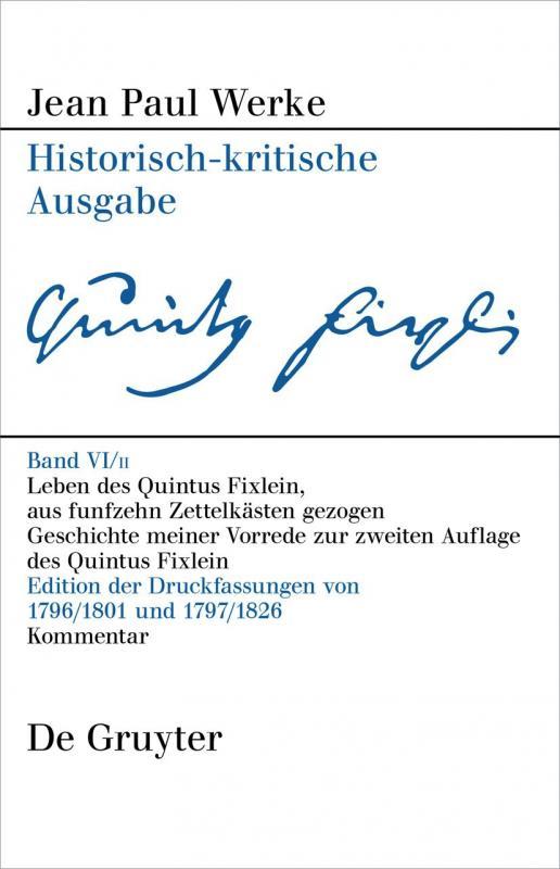 Cover-Bild Jean Paul: Werke / Leben des Quintus Fixlein, aus funfzehn Zettelkästen gezogen