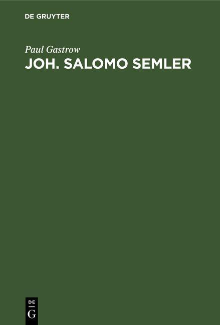 Cover-Bild Joh. Salomo Semler