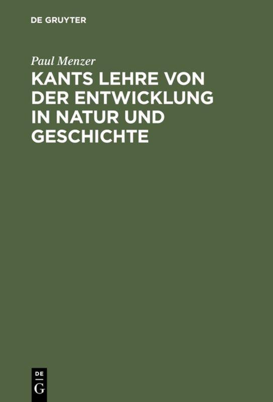 Cover-Bild Kants Lehre von der Entwicklung in Natur und Geschichte