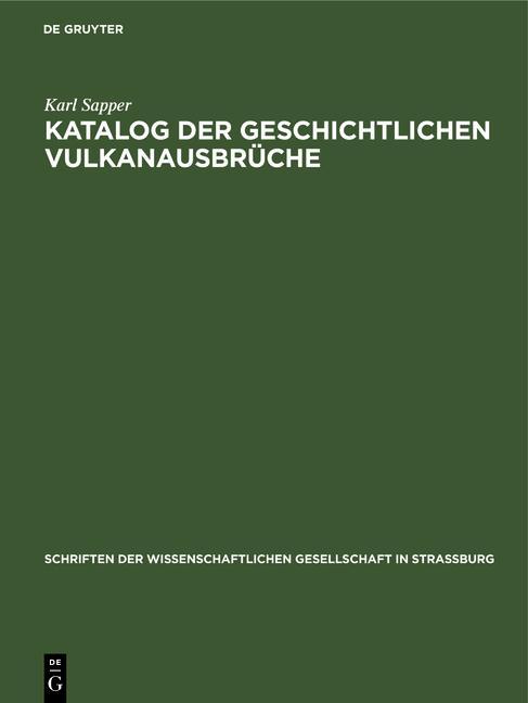 Cover-Bild Katalog der geschichtlichen Vulkanausbrüche