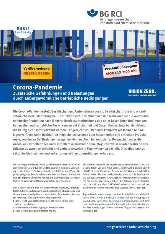 Cover-Bild KB 031 Corona Pandemie II: Zusätzliche Gefährdungen