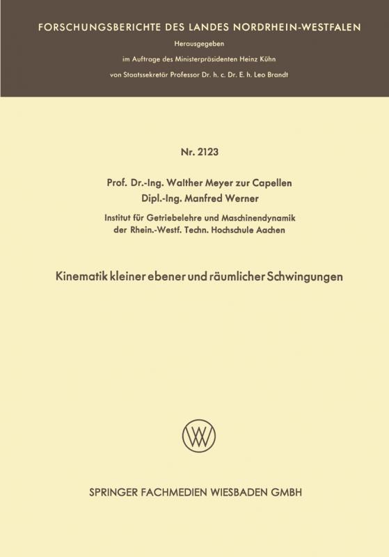 Cover-Bild Kinematik kleiner ebener und räumlicher Schwingungen