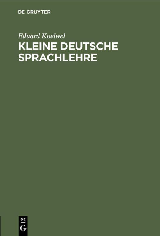 Cover-Bild Kleine deutsche Sprachlehre