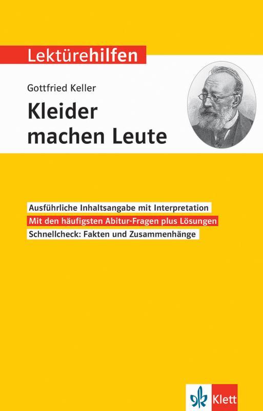 Cover-Bild Klett Lektürehilfen Gottfried Keller, Kleider machen Leute