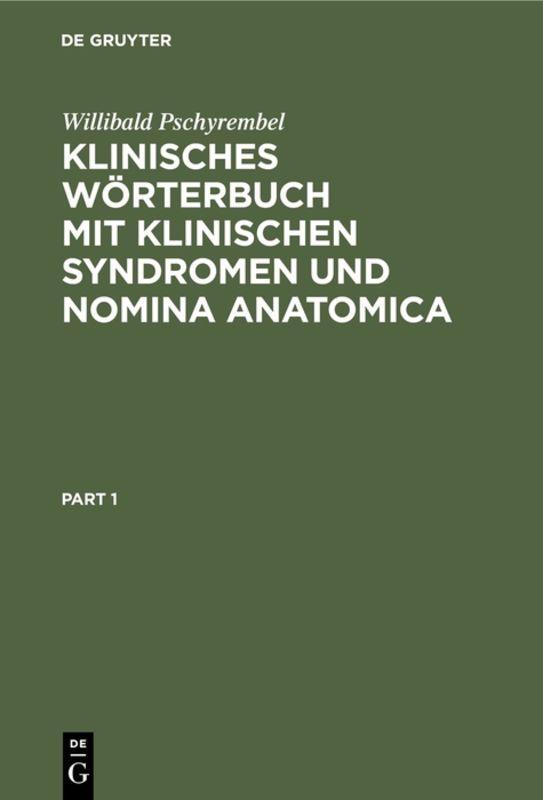 Cover-Bild Klinisches Wörterbuch mit klinischen Syndromen und Nomina Anatomica