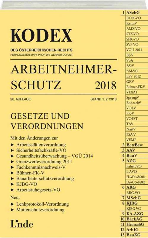 Cover-Bild KODEX Arbeitnehmerschutz 2018