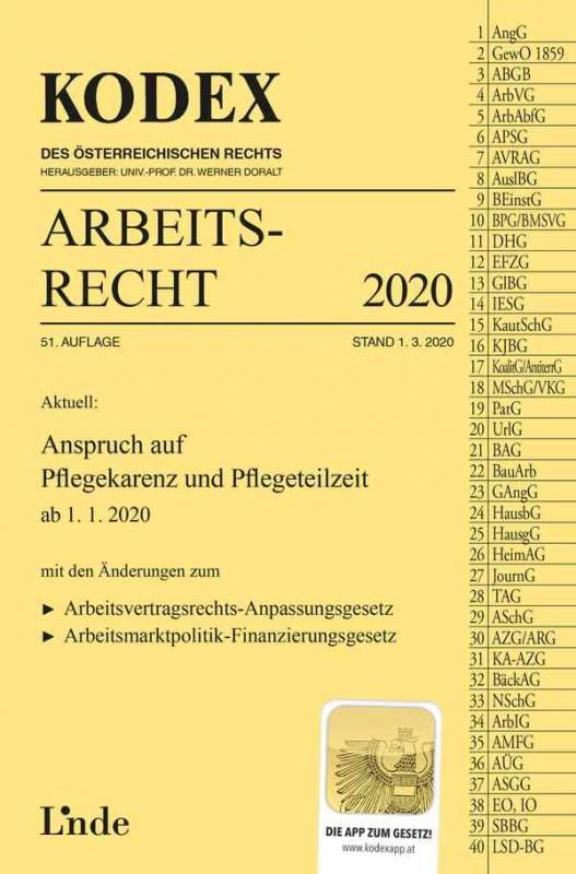 Cover-Bild KODEX Arbeitsrecht 2020