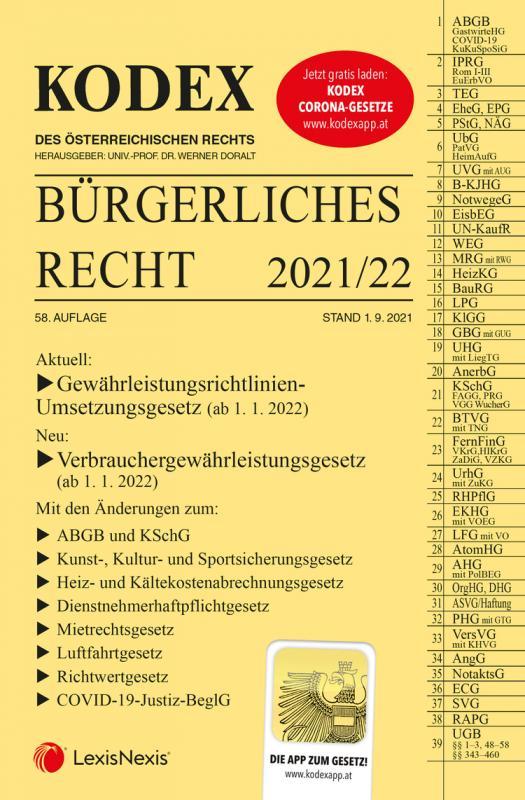 Cover-Bild KODEX Bürgerliches Recht 2021/22 - inkl. App