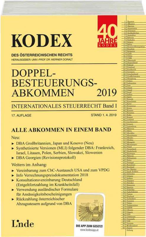 Cover-Bild KODEX Doppelbesteuerungsabkommen 2019
