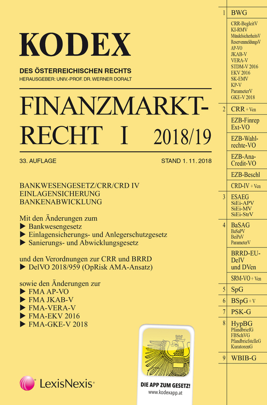 Cover-Bild KODEX Finanzmarktrecht Band I 2018/19
