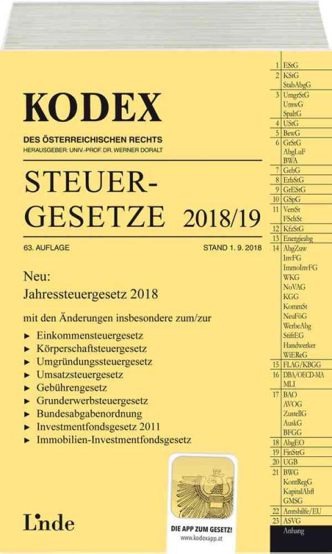 Cover-Bild KODEX Steuergesetze 2018/19