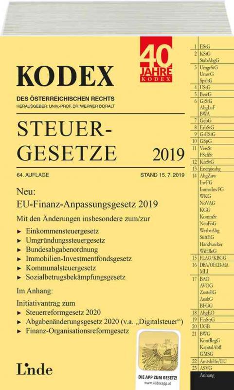 Cover-Bild KODEX Steuergesetze 2019