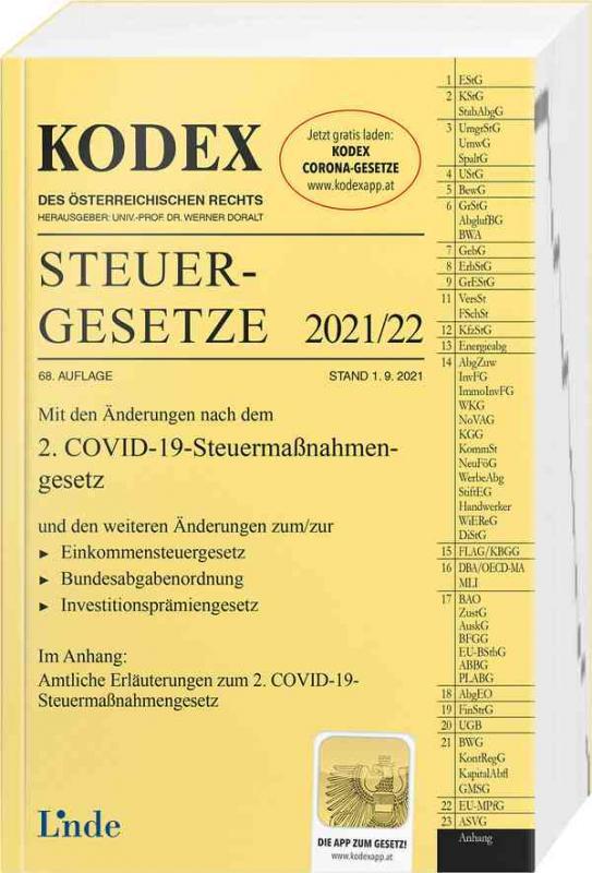 Cover-Bild KODEX Steuergesetze 2021/22
