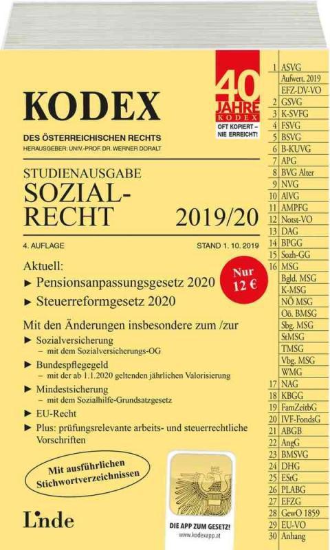 Cover-Bild KODEX Studienausgabe Sozialrecht 2019/20