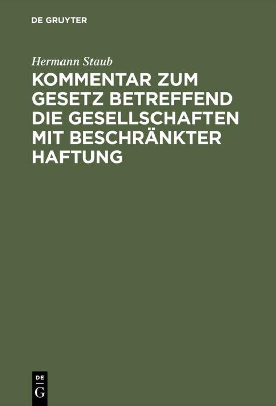Cover-Bild Kommentar zum Gesetz betreffend die Gesellschaften mit beschränkter Haftung