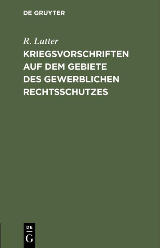 Cover-Bild Kriegsvorschriften auf dem Gebiete des gewerblichen Rechtsschutzes