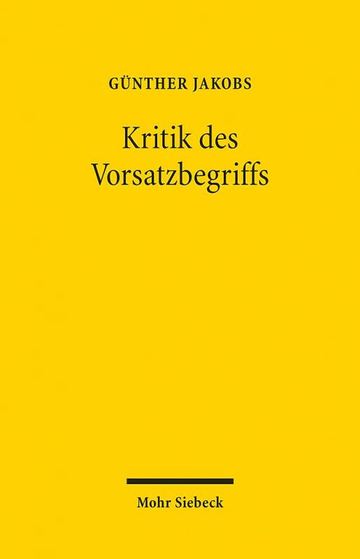 Cover-Bild Kritik des Vorsatzbegriffs
