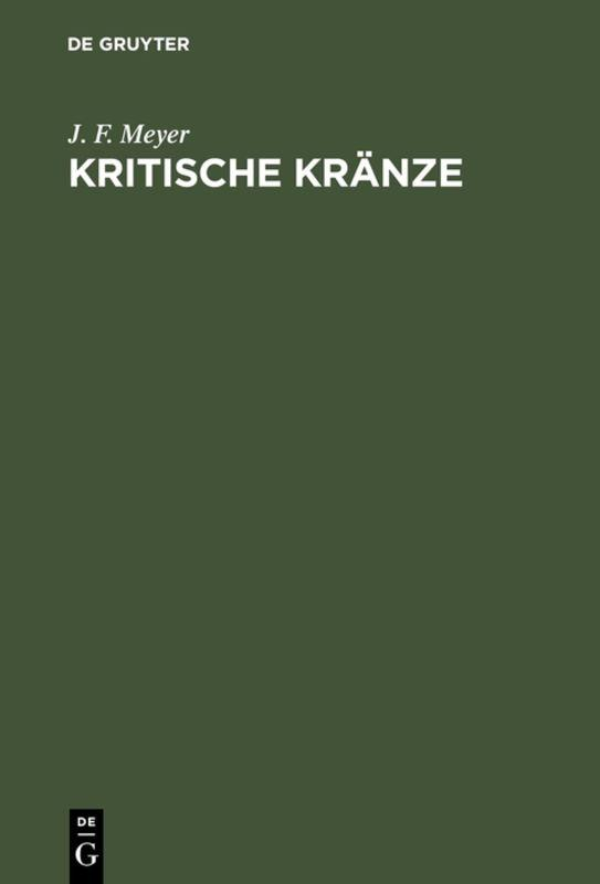 Cover-Bild Kritische Kränze