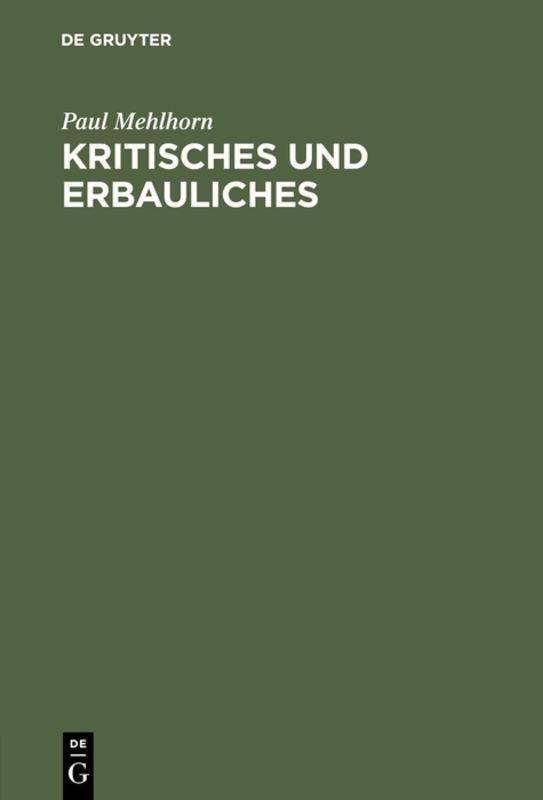 Cover-Bild Kritisches und Erbauliches
