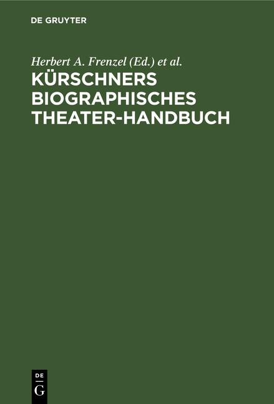Cover-Bild Kürschners biographisches Theater-Handbuch