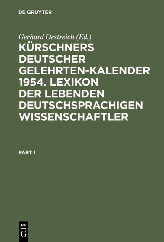 Cover-Bild Kürschners Deutscher Gelehrten-Kalender 1954. Lexikon der lebenden deutschsprachigen Wissenschaftler