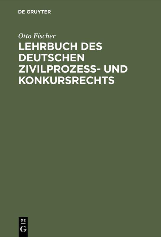 Cover-Bild Lehrbuch des deutschen Zivilprozeß- und Konkursrechts