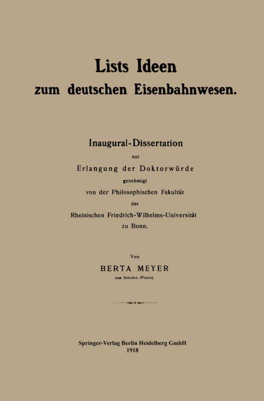 Cover-Bild Lists Ideen zum deutschen Eisenbahnwesen