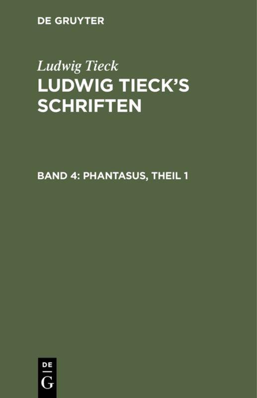 Cover-Bild Ludwig Tieck's Schriften / Phantasus, Theil 1
