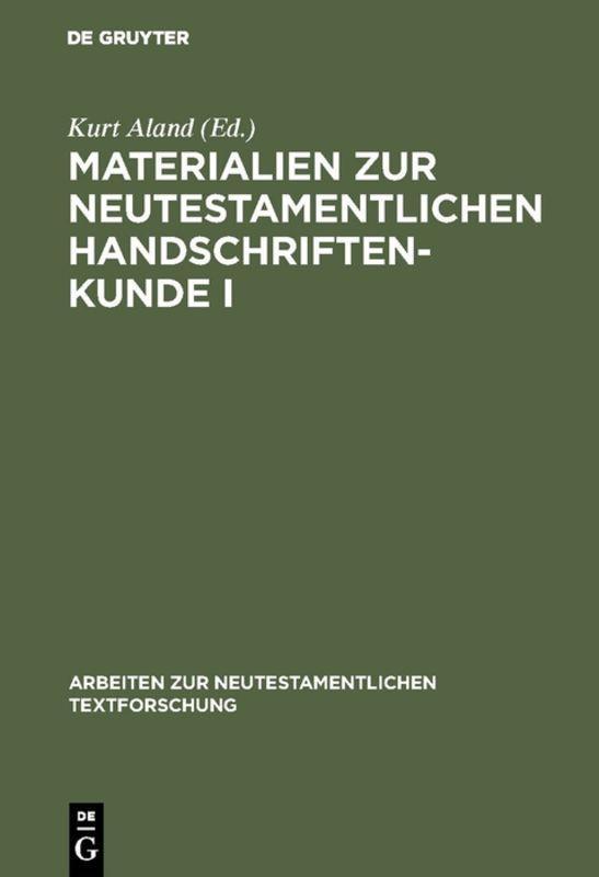 Cover-Bild Materialien zur neutestamentlichen Handschriftenkunde I