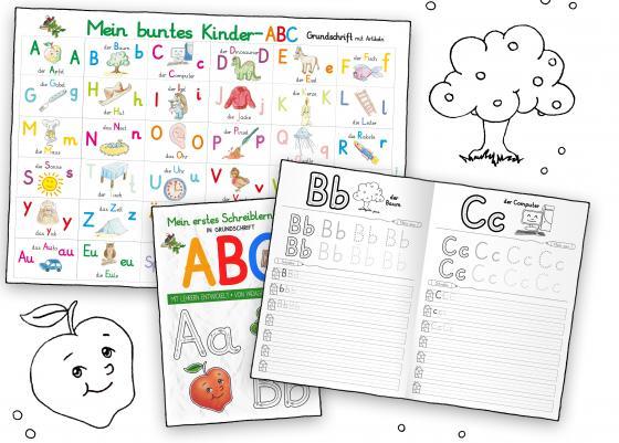 Cover-Bild Mein buntes Kinder-ABC-Set in Grundschrift mit Artikeln