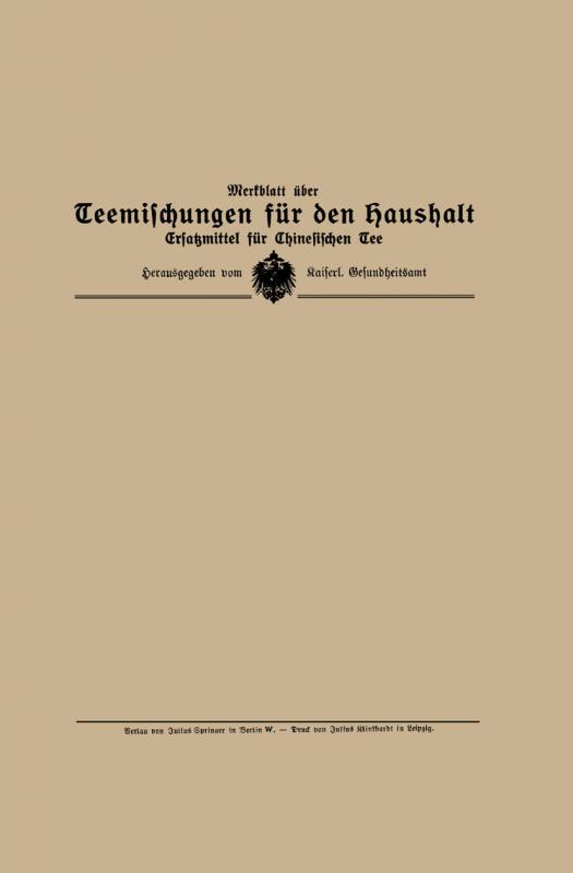 Cover-Bild Merkblatt über Teemischungen für den Haushalt