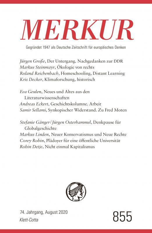 Cover-Bild MERKUR Gegründet 1947 als Deutsche Zeitschrift für europäisches Denken - 2020-08