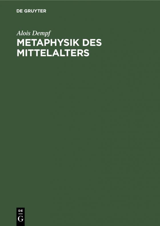 Cover-Bild Metaphysik des Mittelalters