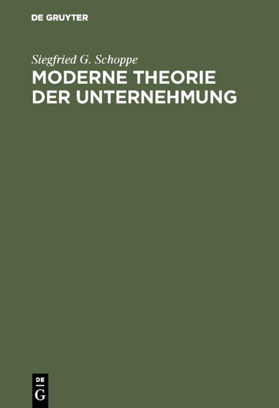 Cover-Bild Moderne Theorie der Unternehmung