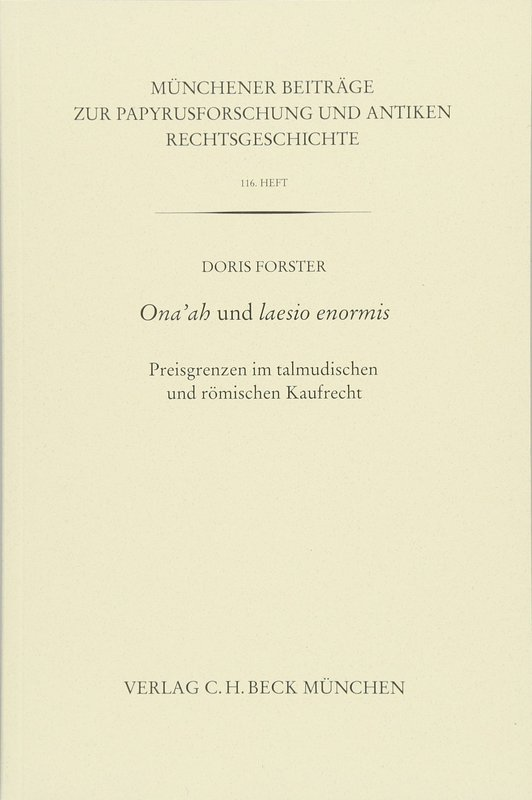 Cover-Bild Münchener Beiträge zur Papyrusforschung Heft 116: Ona'ah und laesio enormis