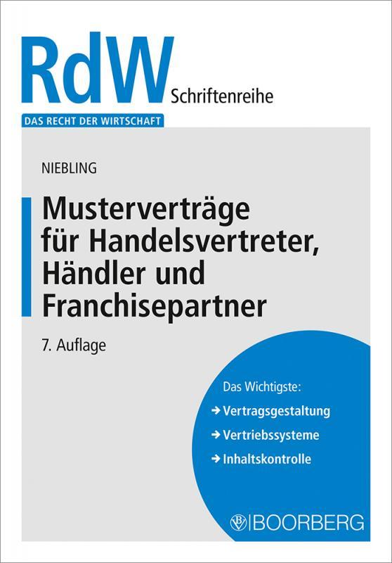 Cover-Bild Musterverträge für Handelsvertreter, Händler und Franchisepartner
