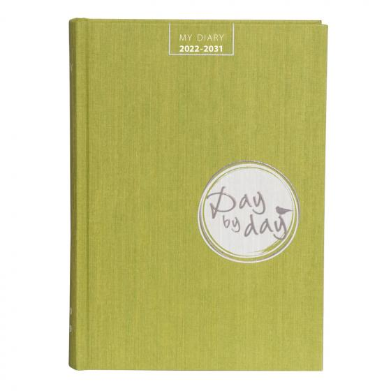 """Cover-Bild My Diary 2022-2031 """"Day by Day"""" lime green"""