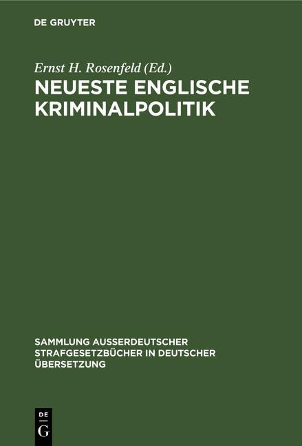 Cover-Bild Neueste Englische Kriminalpolitik