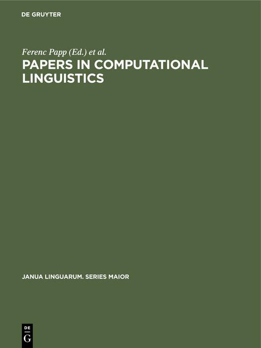 Cover-Bild Papers in Computational Linguistics