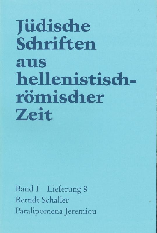 Cover-Bild Paralipomena Jeremiou