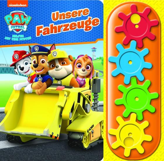 Cover-Bild PAW Patrol - Unsere Fahrzeuge - Interaktives Pappbilderbuch mit 4 Zahnrädern und 5 Geräuschen für Kinder ab 3 Jahren