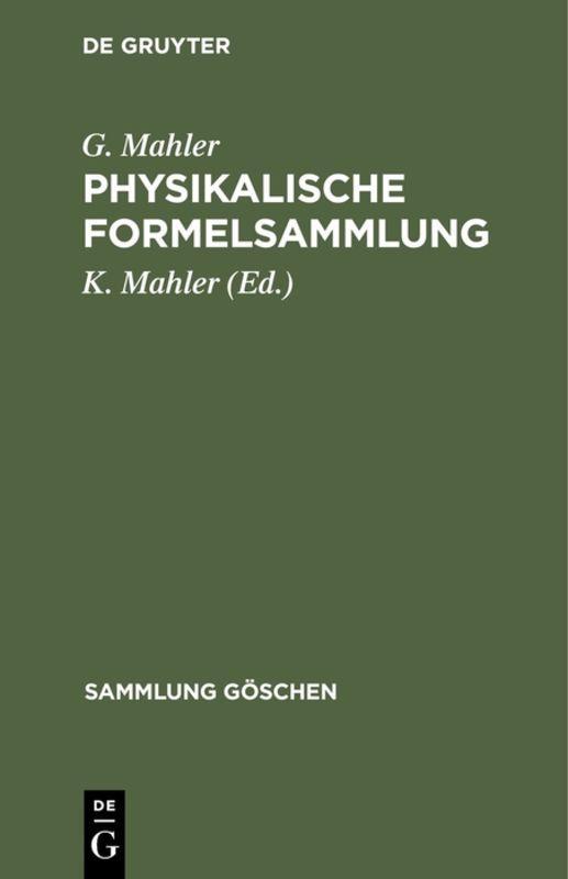 Cover-Bild Physikalische Formelsammlung