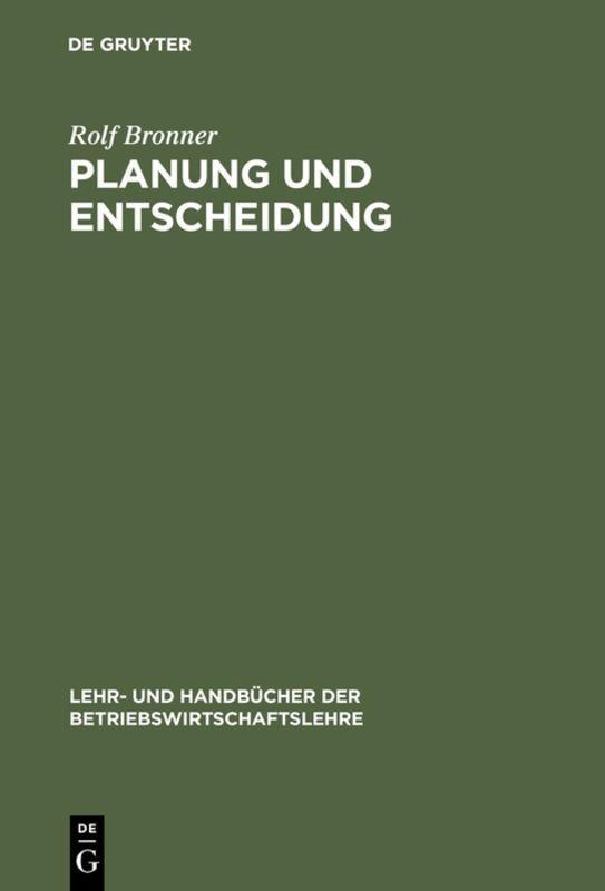 Cover-Bild Planung und Entscheidung