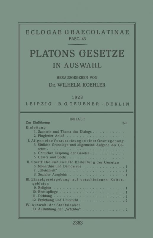 Cover-Bild Platons Gesetze